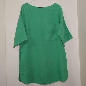 Zara Basic Green Linen Sheath Dress
